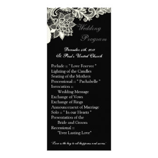 25 4x9 Wedding Program Vintage Victorian Lace Blac