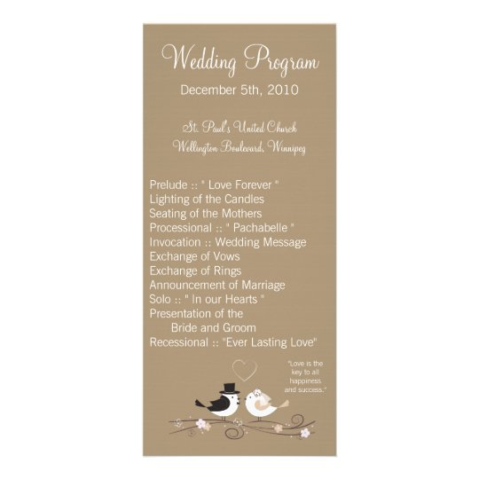 25 4x9 Wedding Program Wedding Birds Bride Groom