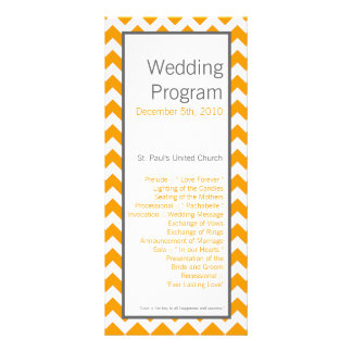 25 4x9 Wedding Program Yellow Grey Gray Chevron
