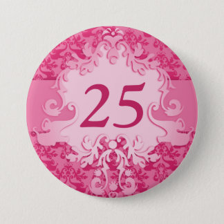 """""""25"""" age damask elephant pink button/badge button"""