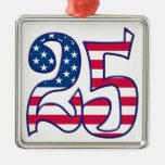 25 Age USA Square Metal Christmas Ornament