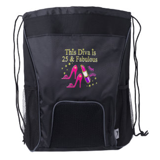 25 AND FABULOUS DAZZLING DIVA DESIGN DRAWSTRING BACKPACK