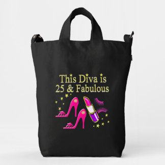 25 AND FABULOUS DAZZLING DIVA DESIGN DUCK BAG