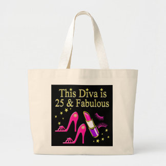 25 AND FABULOUS DAZZLING DIVA DESIGN LARGE TOTE BAG