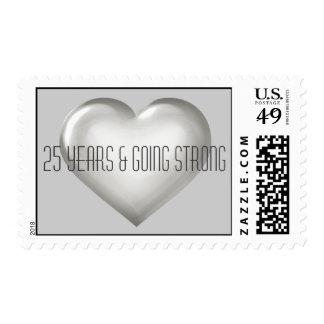 25 años y aniversario de plata fuerte del corazón timbres postales