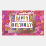 25 Artistic Decorative HAPPY BIRTHDAY Script Rectangular Sticker