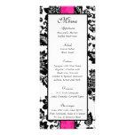 25 Black/Hot Pink Floral Damask Wedding Menu Tags