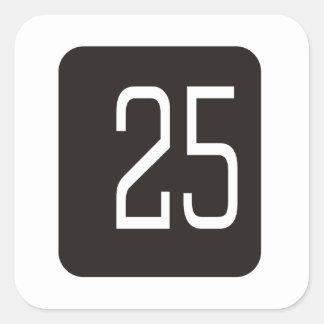 #25 Black Square Square Sticker