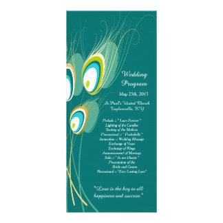 25 Blue Peacock Feather Wedding Programs Rack Cards