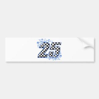 25 blue racing number bumper sticker