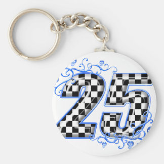 25 blue racing number keychain