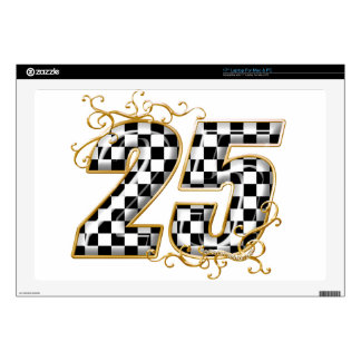 25 checkers flag number laptop decal