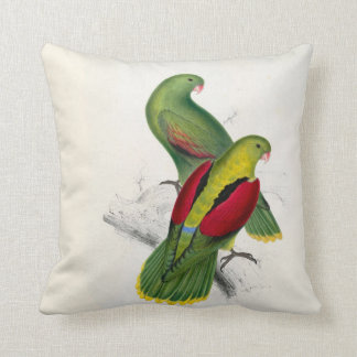 25-Crimson-winged parrakeet pair Throw Pillow
