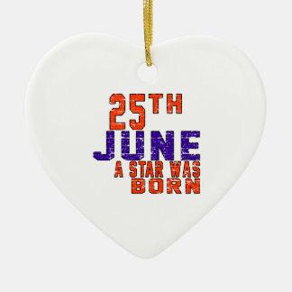 25 de junio una estrella nació adorno de cerámica en forma de corazón
