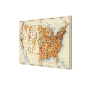 25 Density of increase of population, US, 18901900 Canvas Print