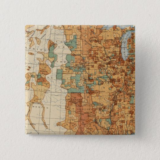25 Density of increase of population, US, 18901900 Pinback Button