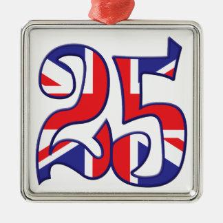 25 edad Reino Unido Adorno Navideño Cuadrado De Metal