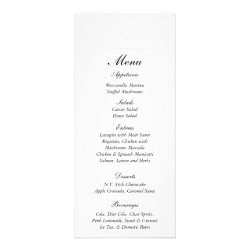 25 Elegant White/Silver Wedding Menu Tags Rack Card Template