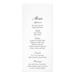 25 Elegant White/Silver Wedding Menu Tags Rack Card Template