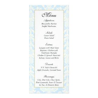 25 etiquetas azules blancas del menú del boda del tarjeta publicitaria a todo color