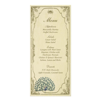 25 etiquetas del menú del boda del pavo real del v diseño de tarjeta publicitaria