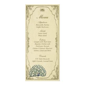 25 etiquetas del menú del boda del pavo real del v tarjetas publicitarias a todo color