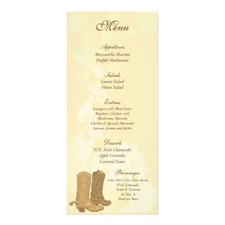 25 etiquetas del menú del boda del vaquero diseño de tarjeta publicitaria