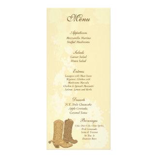 25 etiquetas del menú del boda del vaquero tarjeta publicitaria