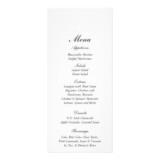 """25 etiquetas elegantes del menú de la bodas de pla folleto publicitario 4"""" x 9"""""""