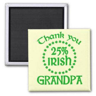 25% Irish - Thank You Grandpa 2 Inch Square Magnet