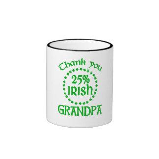 25% Irish - Thank You Grandpa Ringer Coffee Mug