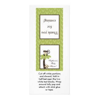 25 Lollipop Topper Monkey Time Zoo Animal Rack Card