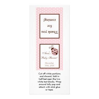 25 Lollipop Topper Pink Ladybug Rack Card