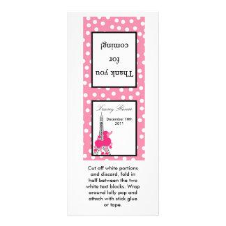 25 Lollipop Topper Pink Poodle in Paris Eiffel Rack Card
