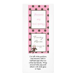 25 Lollipop Topper Pink Sock Monkey Rack Card
