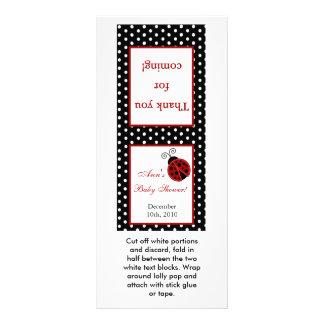 25 Lollipop Topper Red Ladybug Rack Card