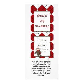 25 Lollipop Topper Red Sock Monkey Argyle Rack Card