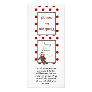 25 Lollipop Topper Red Sock Monkey Rack Card