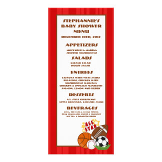 25 Menu Cards All Star Red