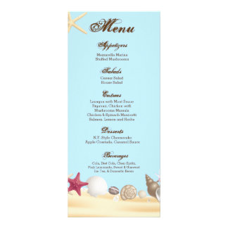 25 Menu Cards Beach Sea Shells Ocean Sand Water