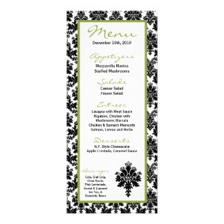 25 Menu Cards Black Green Damask Lace Print