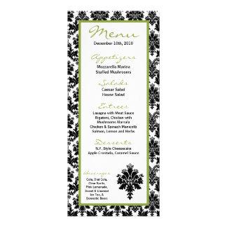 25 Menu Cards Black Green Damask Lace Print Personalized Rack Card