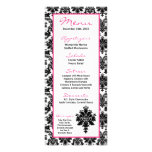 25 Menu Cards Black Hot Pink Damask Lace Print Personalized Rack Card