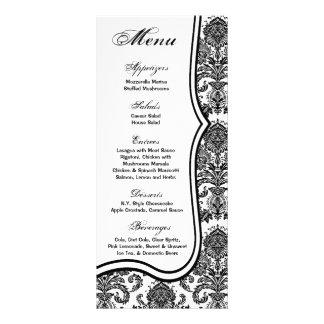 25 Menu Cards Black White Damask Lace Print Patter Custom Rack Cards
