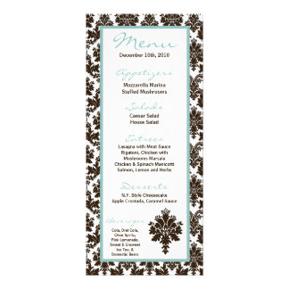 25 Menu Cards Brown Damask Lace Print