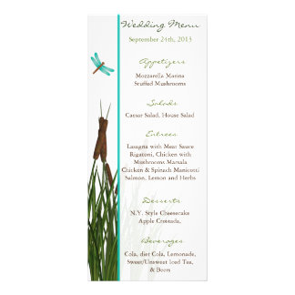 25 Menu Cards Cattail/Dragonfly in Color Green Blu Custom Rack Card