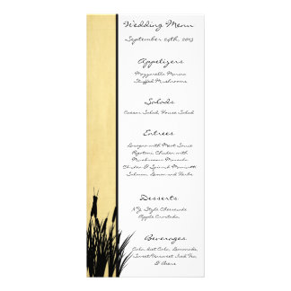 25 Menu Cards Cattail/Dragonfly Silhouette floral Rack Card Template