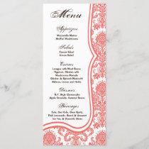 25 Menu Cards Coral Pink Damask Lace Print Pattern