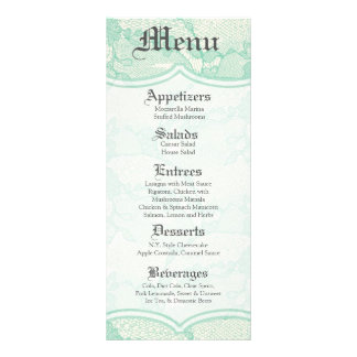 25 Menu Cards Country Mint Lace Print Fabric Patte