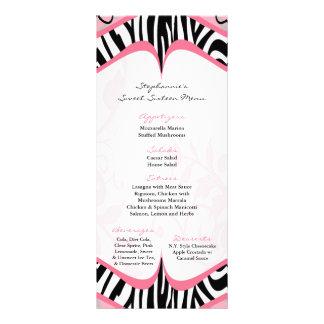 25 Menu Cards Girly Butterfly Zebra Print Pattern Rack Card Template